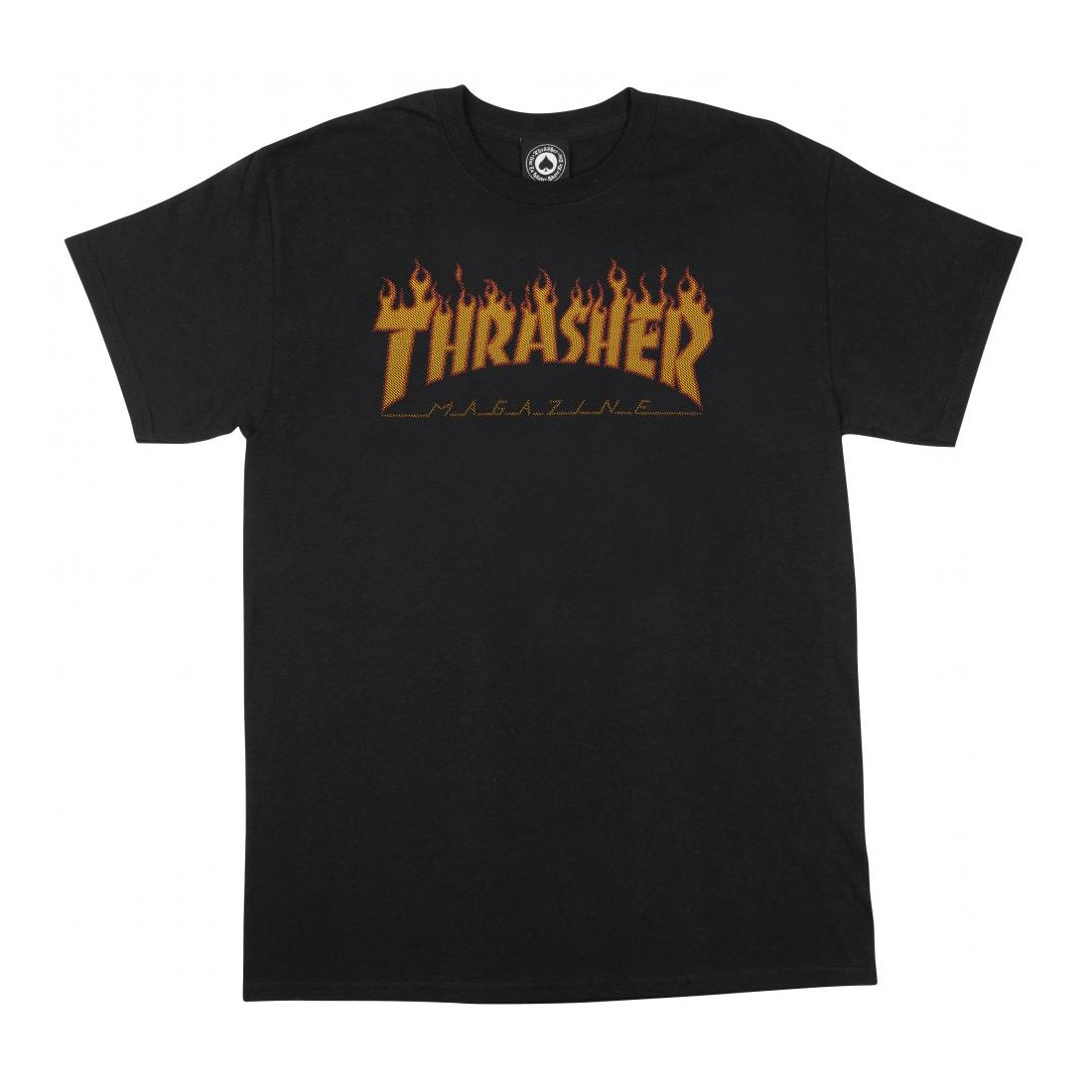 T SHIRT THRASHER flame halftone black