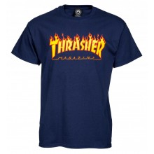 T Shirt Thrasher flame logo navy