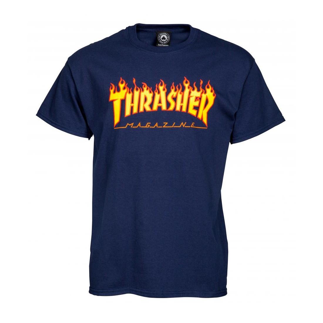 T Shirt Thrasher flame logo navy