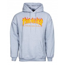 Sweat Thrasher Hoody flame logo grey