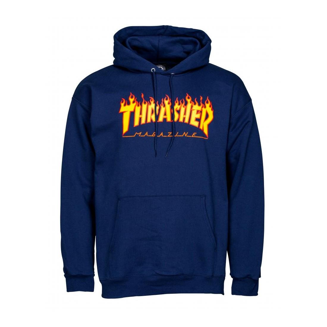 Sweat Thrasher Hoody flame logo navy